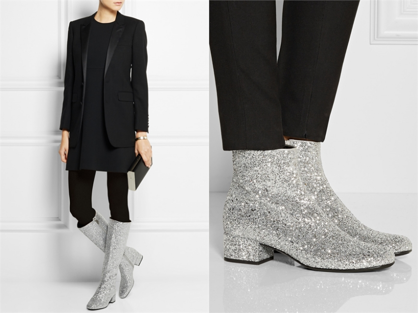 ba8c2ec6c02 From high-end to street style: Saint Laurent glitter ankle boots - C ...